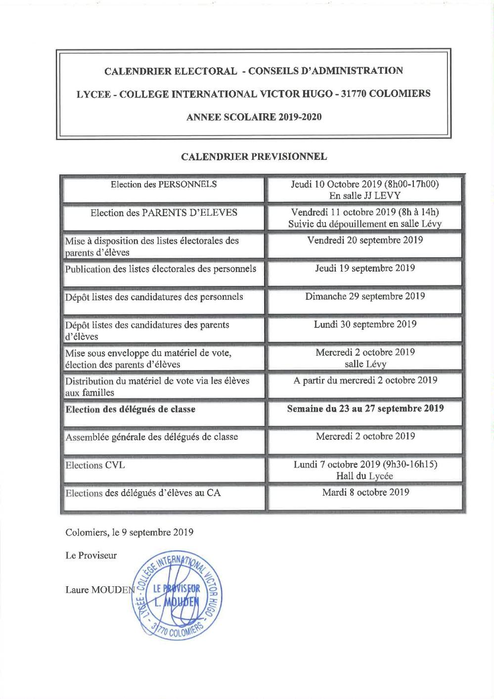 Calendrier Election 2019.Calendrier Electoral 2019 V2 Actualites Lycee General Et